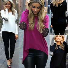 Sexy Womens Round Neck Long Sleeve Tunics Tops Tee Loose Casual Blouse T-Shirt