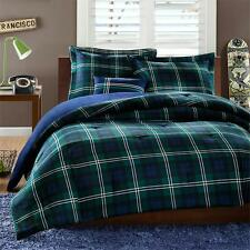 BEAUTIFUL CLASSIC COZY BLUE GREEN WHITE NAVY STRIPE PLAID COMFORTER PILLOW SET
