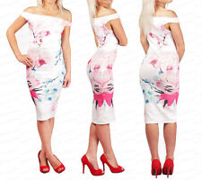 Jess Wright Ladies Girls Off Shoulder Pencil Floral Summer Midi Bodycon Dress