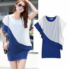 Women Lady Chiffon Casual Batwing Sleeve Short Mini Evening Cocktail Party Dress