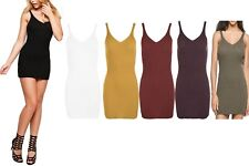 New Womens Ribbed Knitted V-Neck Sleeveless Bodycon Mini Dress Stretch Top 8-14