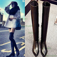 Womens Black Leather Thigh High Over the Knee Boots Point Toe Flat Heels Oxfords
