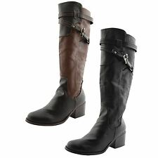 Womens Ladies Dolcis Knee High Long Boots Mid Heel Equestrian Riding Boot Size