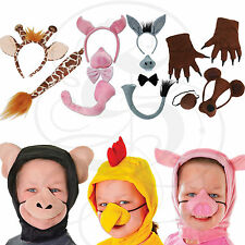 Plush Animal Disguise Set Kids Props Fancy Dress Up Costume Mask+Tails+Headband