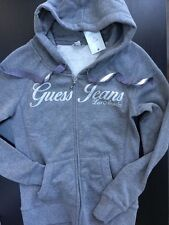 NEW NWT Womens GUESS Hoodie Sweatshirt Grey Gray Zip Down Size Small $68
