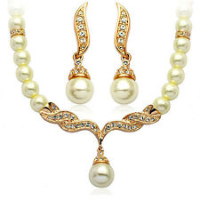 Wedding Bridal Jewellery Set Gold & White Pearl Necklace Studs Earrings