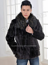 Men's 100% Real Genuine Rex Rabbit Fur Coat/Jacket Raccoon Fur Collar Outwear