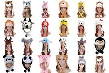 Unisex Faux Fur Animal Hat Scarf Fluffy Plush Cap Cartoon Cosplay Warm Ear Flap