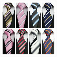Black Pink Blue Red White Stripe Striped New Classic Silk Men Formal Tie Necktie