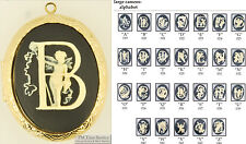Large oval locket, alphabet letter cameos, with matching necklace option