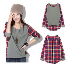 New Womens Ladies Plaid Check Long Sleeve Casual Loose Shirt Tops Blouse UK 4-22