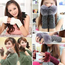 Women Faux Rabbit Fur Hand Wrist Fingerless Gloves Winter Mitten Warmer