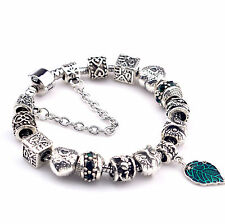 Fashion European Style Crystal Charm Beads Alloy Bracelet Jewelry Bangle #062