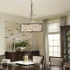 New 3-Light Chandelier Fabric Lampshade Crystal Ceiling Pendant Lighting Lamp