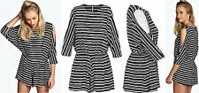 Monochrome Striped Jumpsuit Ladies Batwing 3/4 Sleeves Shorts Gather Waist Sexy