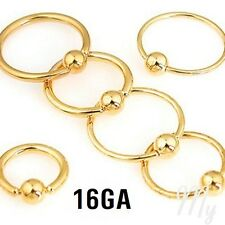 "2pcs. 16G~1/4"" to 1/2"" Gold Plated Captive Bead Rings Ears Tragus Labret Septum"