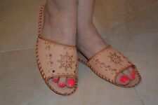 Womens Ladies Traditional Sheep Skin Leather Slippers Shoes Sandal From Poland