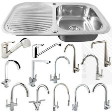 Stainless Steel 1.0 Bowl Kitchen Sink | Reversible with Complete Plumbing + Tap
