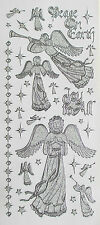 PEARL GLITTER CHRISTMAS ANGELS AND STARS PEEL OFF STICKERS CARDMAKING