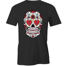 Sugar Skull Flower T-Shirt Calavera Day of the Dead Mexican Design Tee New