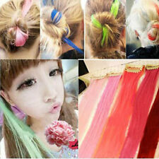 Women Multi Color Long Straight Synthetic Clip in on Hair Extensions Piece  CN