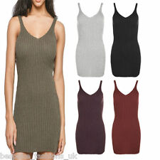 Ladies Women's Sleeveless Ribbed Knitted Bodycon Mini Tunic Dress Long Vest Top