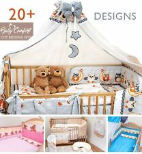 COT & COT BED BEDDING SET 3 PCS 6 10 12 PIECE SHEET PILLOW DUVET BUMPER CANOPY