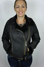 Dark Brown 100% Shearling Leather Sheepskin Pilot Bomber Aviator Jacket Coat NEW