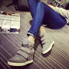 Fashion Womens Strap Hidden Heel High Top Sneakers Wedge Shoes Trainers