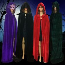 Velvet Hooded Cloak Cape Medieval Wedding Pagan Witch Wicca Vampire Halloween