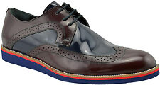 $230 NUKTE Blue Brown Leather WINGTIP Lace Up Oxfords Casual Dress Men Shoes