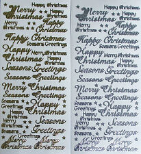 MIXED CHRISTMAS GREETINGS PEEL OFF STICKERS GOLD OR SILVER