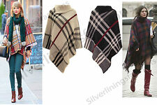 New Womens Checked Tartan Knitted Poncho High Neck Shawl Wrap Cape Jumper Top