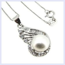 .925 Sterling Silver White Freshwater Pearl Flower CZ Pendant Box Chain Necklace
