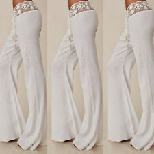 Women Summer Lace Casual Stretch Pants Wide Leg Long Loose Palazzo Trousers