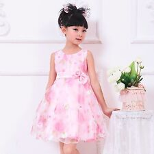 NWT Girls Dress Pink Flower Bow Tulle Party Wedding Pageant Kids Clothing 2-8Y