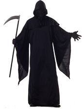 Mens Black Grim Reaper Demon Robe Halloween Fancy Dress Costume