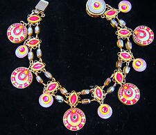 ADAYA NEW BRACELET WITH SWAROVSKI CRYSTAL, BEADS, ENAMEL HANDMADE 2-SIDED ISRAEL