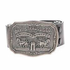 "LEVI'S Men's Bridle Leather Belt w/ Levi Strauss ""Scene"" Plaque Buckle - Black"