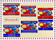 Superman Childrens Birthday Party Personalised Invitations / Thank You Cards X10