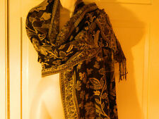 """Black Tan Cream 100% Polyester Wrap Scarf  27"""" x 72""""   with fringe"""