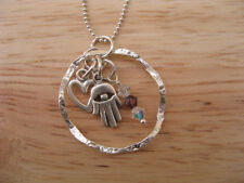 Hamsa Charm Necklace Silver Eternity Circle with Crystal, Dangle Heart Pendant