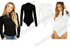 New Womens Polo Turtle Neck Bodysuit Long Sleeve Leotard Stretchy Top T-Shirt