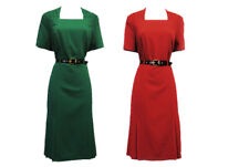 New Vintage 1940's WW2 Style Red or Green Pencil Tea dress with Belt