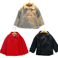 Kids Girl and Boy Fashion Double-breasted Trench Coat Cute Outwear Wind Jacket