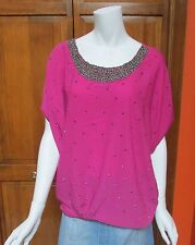 BCBG Pink Jeweled Dolman Sleeve Top Blouse Sz M or L NWT MSRP $140