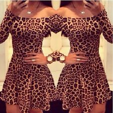 Sexy Women Long Sleeve Bodycon Leopard Evening Party Cocktail Casual Mini Dress