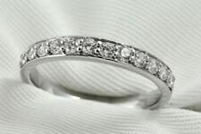 Diamond Wedding Band Ring 0.36 Ct Round Cut 14K White Gold Pave Anniversary