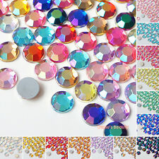 200pcs AB Colors (1.5mm - 8mm) Acrylic Flatback Rhinestone Scrapbook Nail Craft