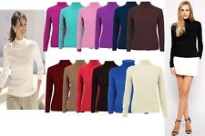 New Womens Ribbed High Neck Long Sleeve Roll Polo Neck Stretch Cotton Jumper Top
